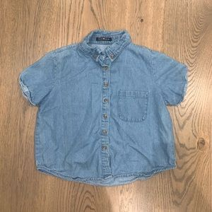 brandy melville cropped denim button down shirt